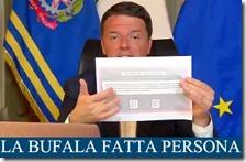 Matteo Renzi mostra la scheda del Referendum