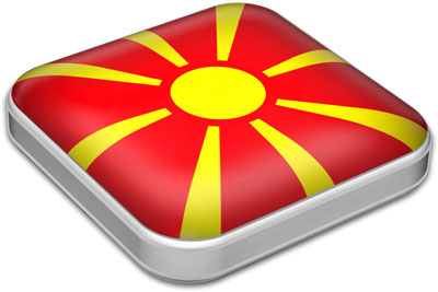 Flag of Macedonia with metallic square frame