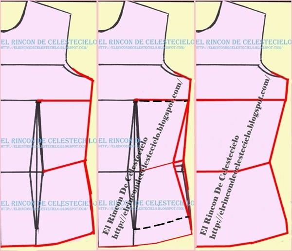 Patrón delantero de blusa con pinza de costado y vertical de busto eliminada