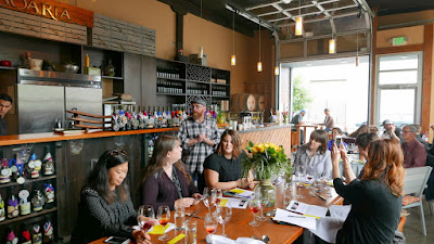 Tesoaria Wine and Vegan Food Pairing at a Vegan Brunch - yes pairing vegan food and wine- owner and winemaker John Olson describing the wine