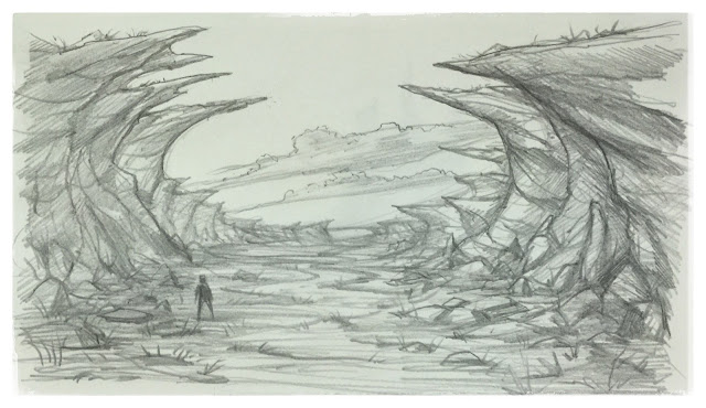 17 moonscape moon terrain environment jagged cliff background art artist pencil sketch mikephillipsart design concept daily