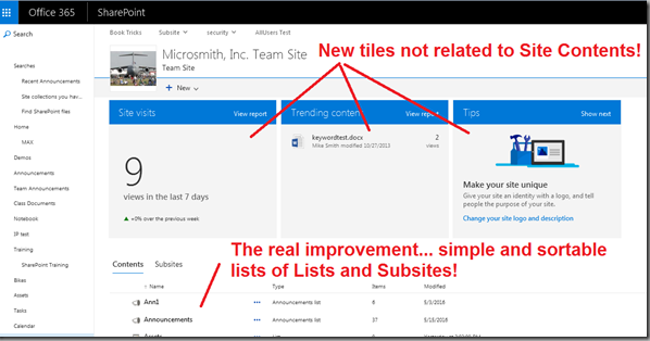 Office 365 \/ SharePoint Online Site Contents Page Changes  Mike Smith\u002639;s Tech Training Notes
