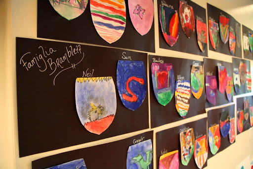Kids created their own Italian coat of arms. From Exposing children to the arts - An Open Letter to Fine Art Museum Directors