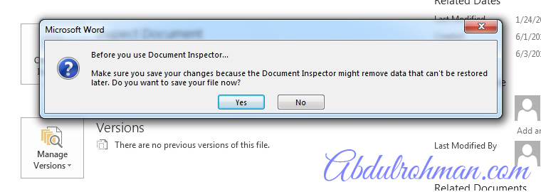Notification Inspect Document