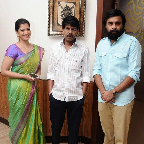 Bala poses with Varalaxmi Sarathkumar and M Sasikumar during the movie pooja of Thaarai Thappattai, held in Chennai.