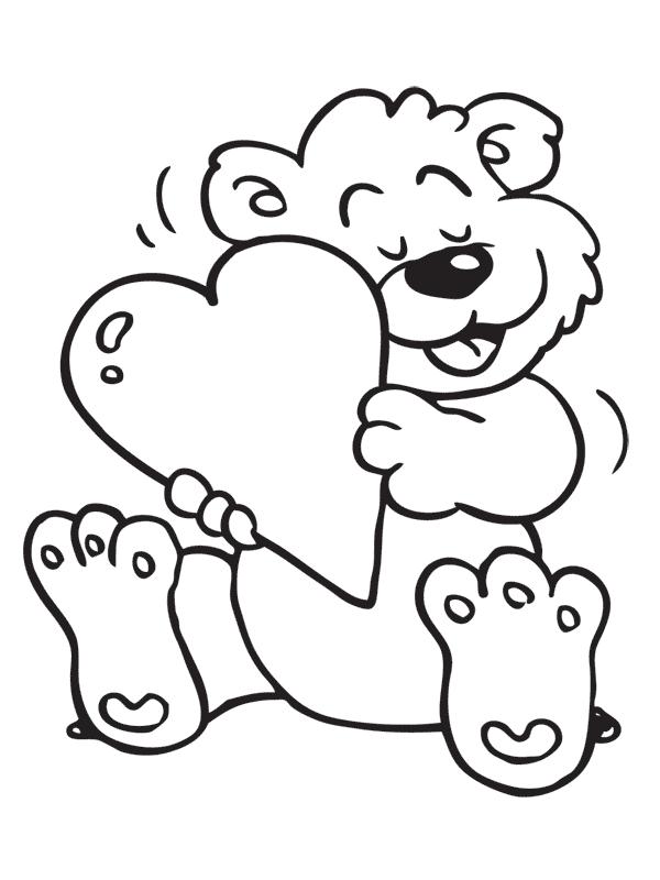 kleurplaten beer met hart