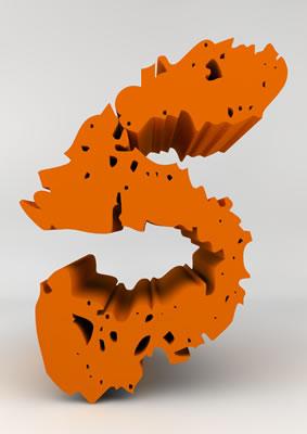 lettre 3D chiffron de craie orange - 5 - images libres de droit