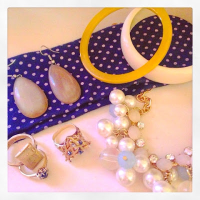 navy blue and baby blue, gold and yellow and off-white accessories from vintage to drugstore to Mad Men star's NOLA store