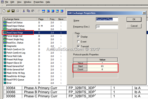 Setting Read Input Register di ASE2000