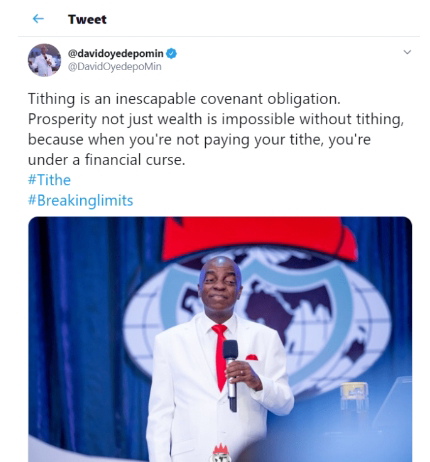 Pastor Oyedepo's Reaction To Tithe