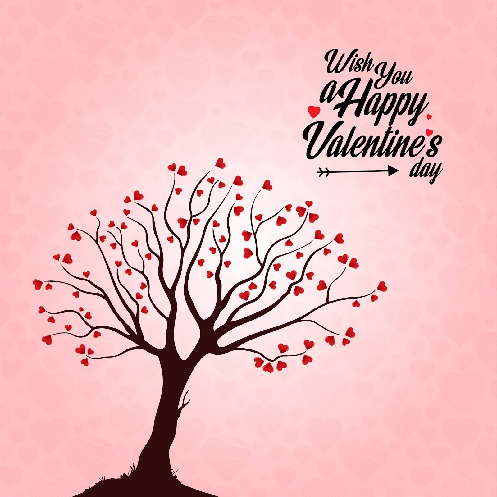 Wish You A Happy Valentine S Day Heart Tree Free Download Vector CDR, AI, EPS and PNG Formats