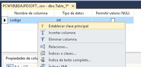 Administración SQL Server con Microsoft SQL Server Management Studio, crear base de datos, crear tabla en SQL Server