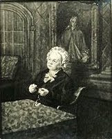 """This portrait of Miss Elizabeth Finch at her house in Church Street. She and her sister were the first Sunday school teachers in Shelford."" From A Record of Shelford Parva by Fanny Wale."