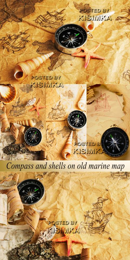 Stock Photo: Compass and shells on old marine map