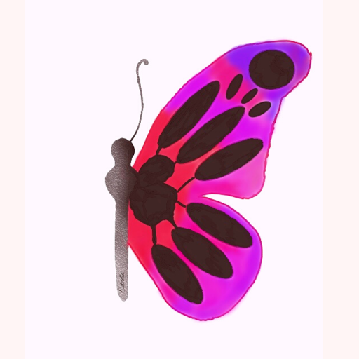 Red and purple gradient butterfly