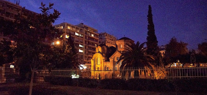 5. The Church of Panagia Chalkeon at night. The Church was built in 1028