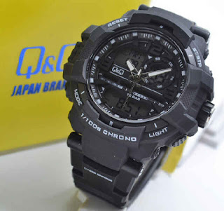 jam tangan Q&Q GW86J001Y double time black rubber white