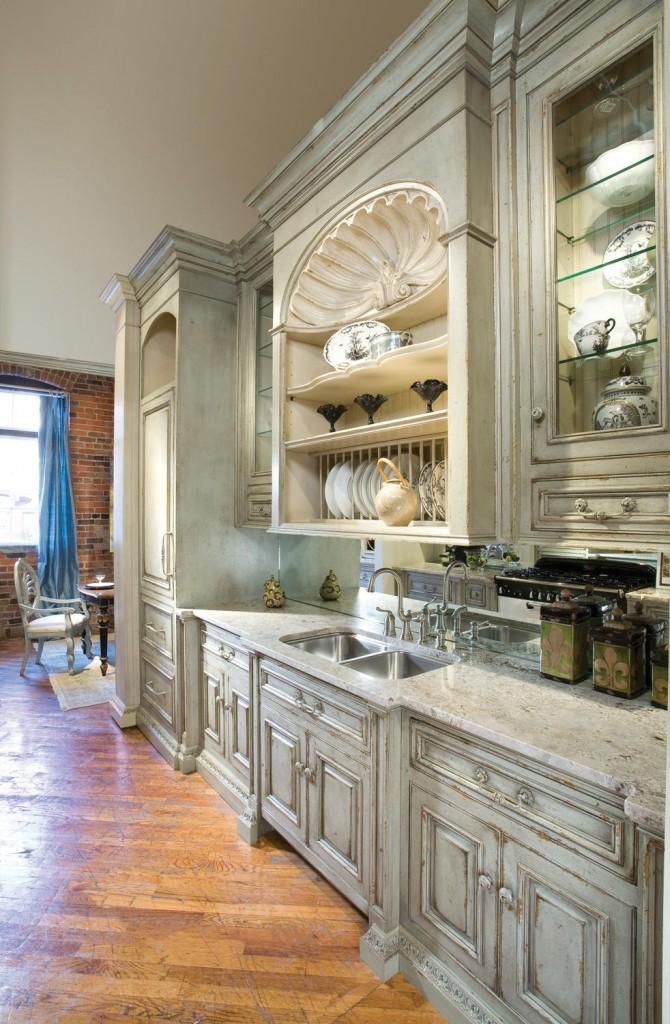 Distressed Chalk Paint Kitchen Cabinets