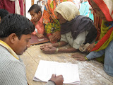 Villagers register to see the eye doctor