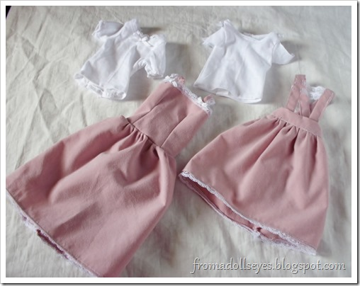 Two different pink dresses and tees for ball jointed dolls.