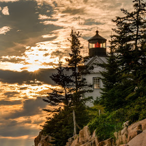 Bass Head Light by Greg Croasdill - Landscapes Sunsets & Sunrises ( shore, maine, sunset, lighthouse, acadia, bass head lighthouse, rocks,  )