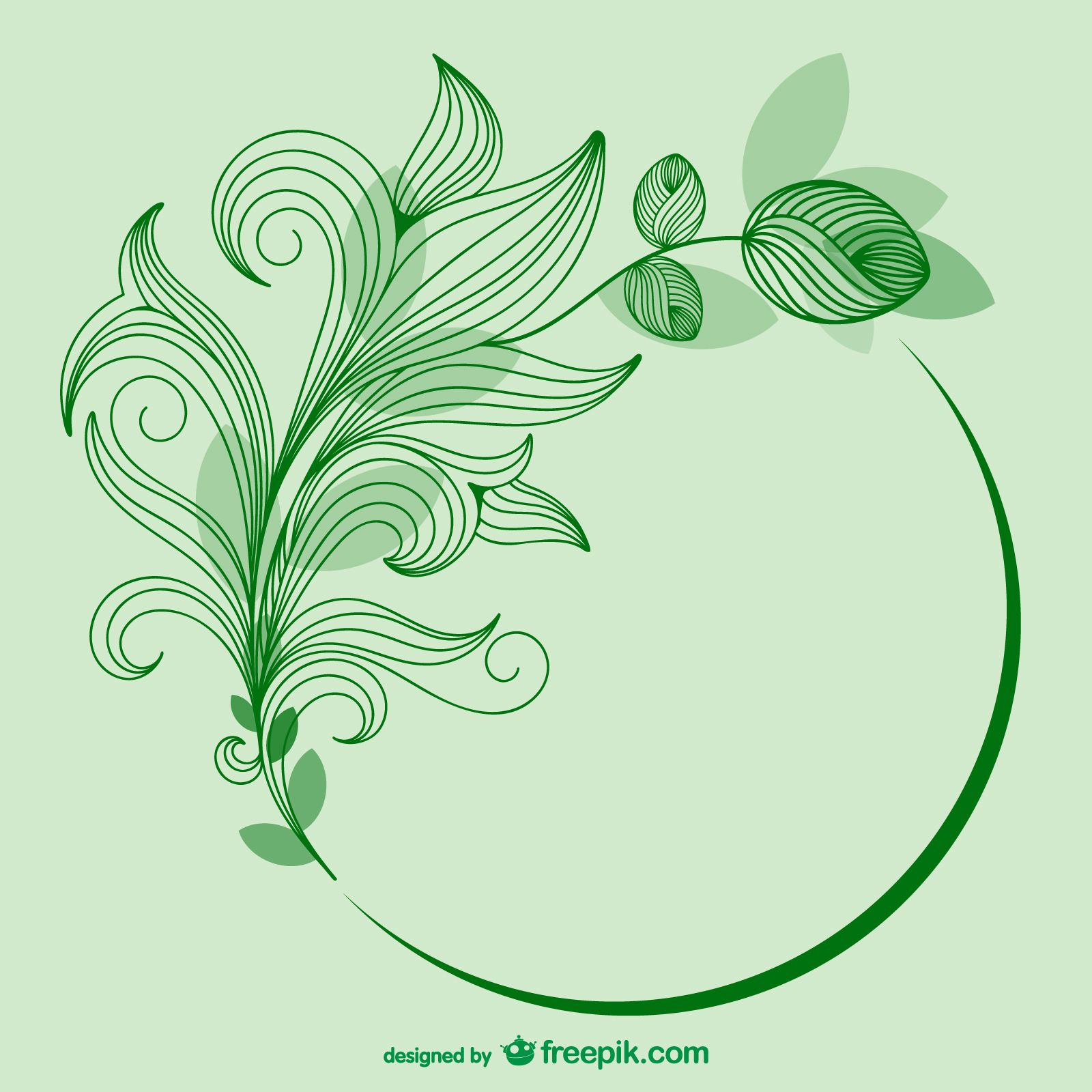 Sketched Green Leaves Free Download Vector CDR, AI, EPS and PNG Formats
