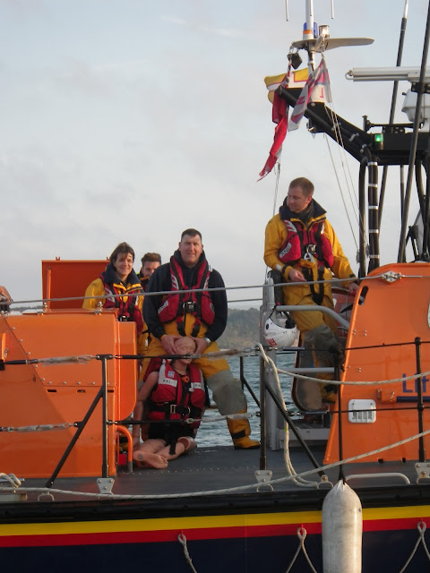 Poole Mechanic Paul Taylor - you're meant to be helping the  casualty! - 22 April 2014 Photo: RNLI Poole/Anne Millman