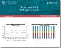 Finanza pubblica: fabbisongo debito. Aprile 2018