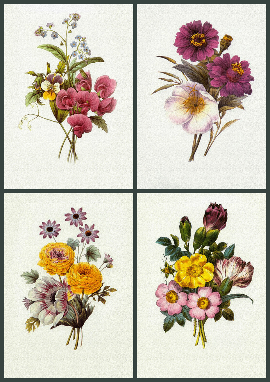 Винтажные картинки для декупажа цветы