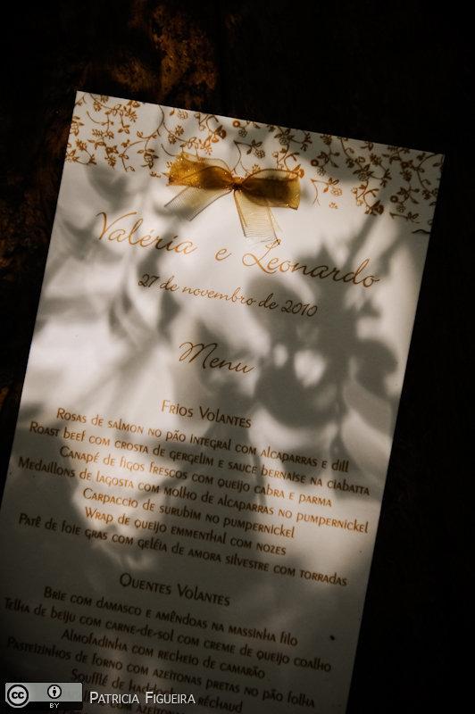 Foto de casamento 0057 de Valeria e Leonardo. Marcações: 27/11/2010, Cardapio Menu, Casamento Valeria e Leonardo, Rio de Janeiro.