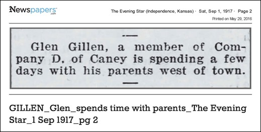 GILLEN_Glen_spends time with parents_The Evening Star_1 Sep 1917_pg 2 - on Newspapers