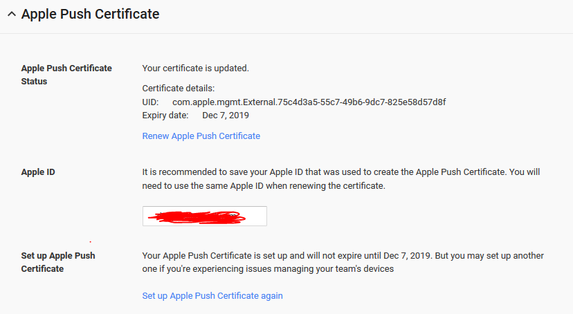 Apple Push Certificate Menu