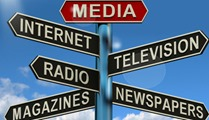 Media Signpost Showing Internet Television Newspapers Magazines And Radio