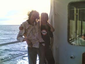 Photo: Op ferry met Fons (beetje wind)