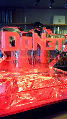 DaNet ice sculpture on the bar at the Russian Pop up at Portland Penny Diner