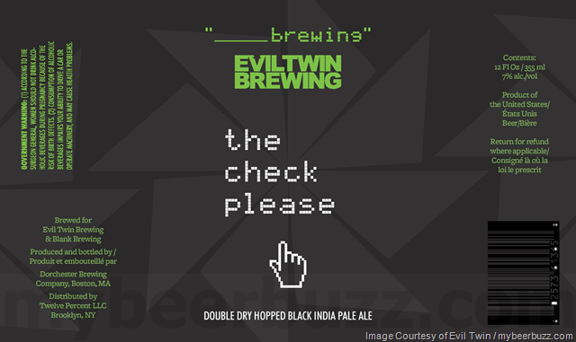 Evil Twin & Blank Brewing Collaborate On The Check Please