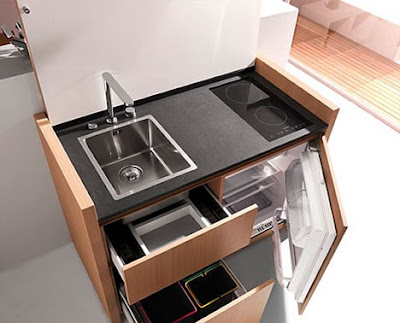 Dornob Features This Sleek Kitchenette From French Design Company Kitchoo.  It Cooks, It Cleans, And It All Closes Up Into A Modern Cabinet Looks More  Like A ...