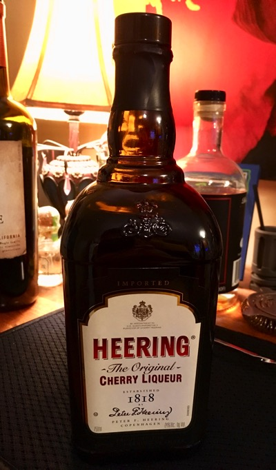 A bottle of Cherry Heering liqueur