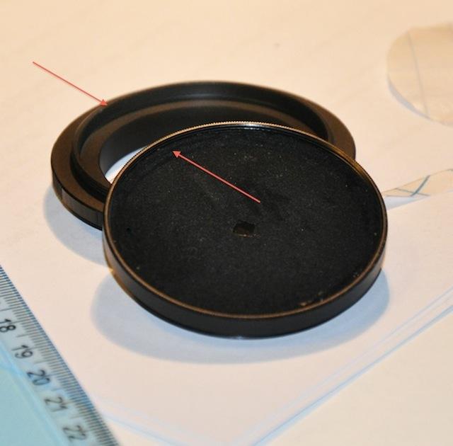 Filtro con estenopo ya adherido listo para montar sobre el anillo inverso