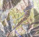 Carte du massif de Popolasca avec le parcours du Turone par Bradani