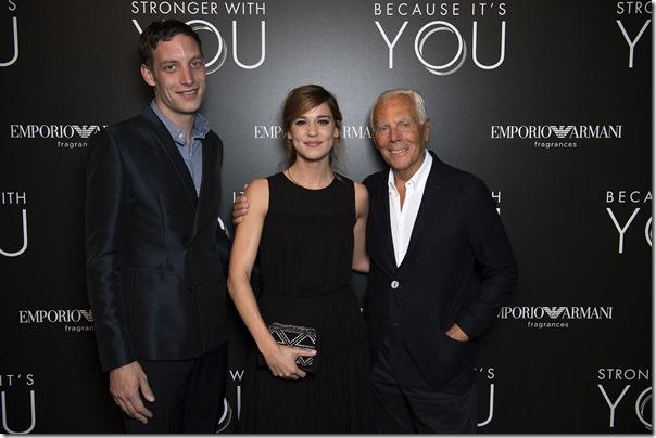 Giorgio Armani, James Jagger e Matilda Lutz - SGP