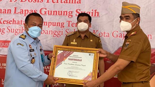 Plt. Kakanwil Kumham Lampung Kunker Sekaligus Pantau Vaksinasi di Lapas II B Gunung Sugih