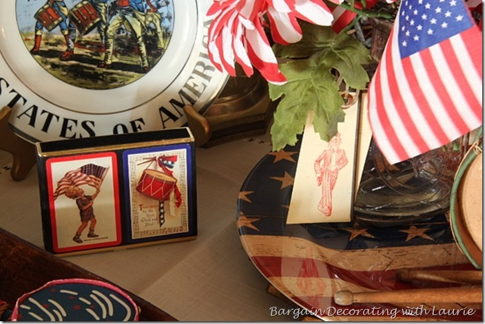 Red and white striped faux flowers for 4th of July