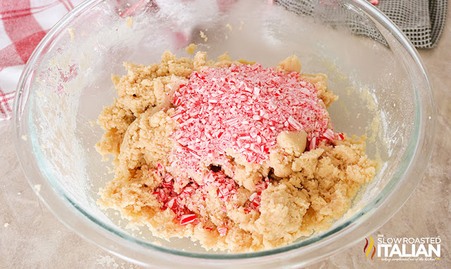 cookie batter with candy canes