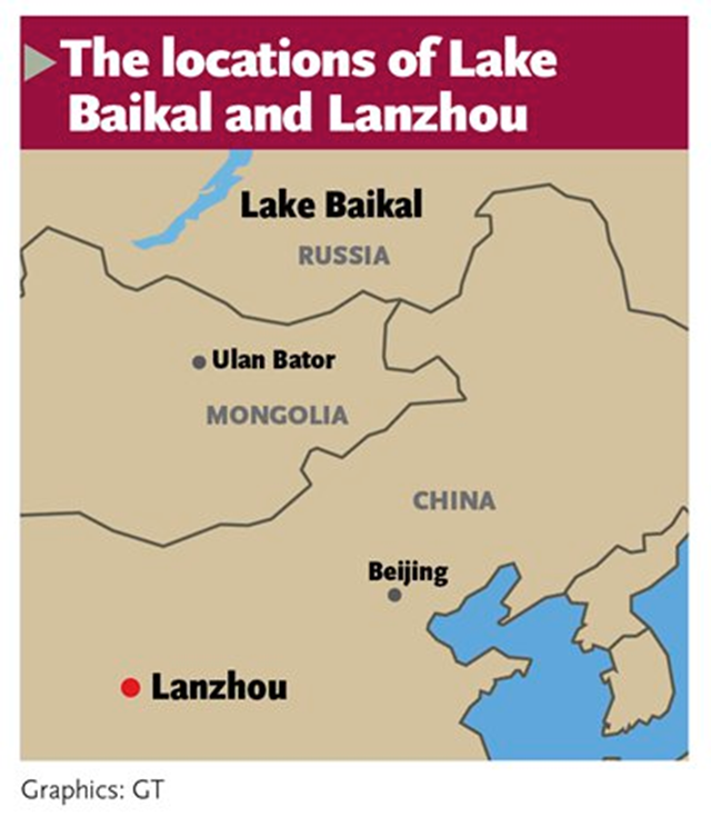 Locations of Lake Baikal and Lanzhou, China. China is reportedly considering plans to build a 1,000km (620 mile) pipeline to pump water all the way from Siberia to its drought-stricken northwest. Graphic: Global Times