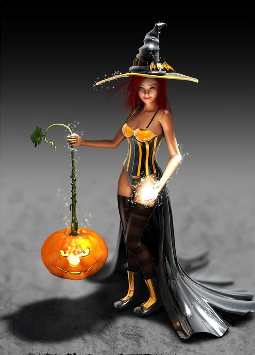 Halloween Witch And Pumpkin, Halloween
