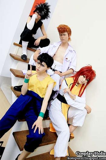 yu yu hakusho cosplay - hiei, kuwabara kazuma, urameshi yusuke, and kurama by aira