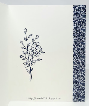 Linda Vich Creates: It's A Good Day. The crisp colors of white and navy come together in this stunning card that uses the Floral Boutique DSP.