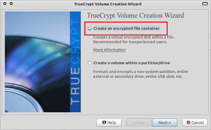 Pilih 'Create an encrypted file container'