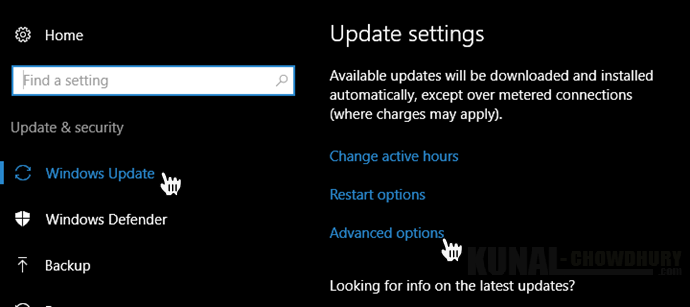 Windows 10 Advance Update settings (www.kunal-chowdhury.com)